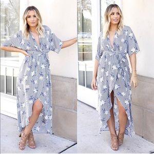 Grey Striped Wrap Dress